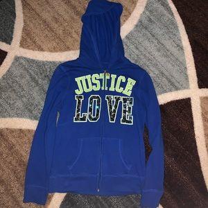 "💙GIRLS JUSTICE ""LOVE"" ZIP UP HOODED JACKET💙"